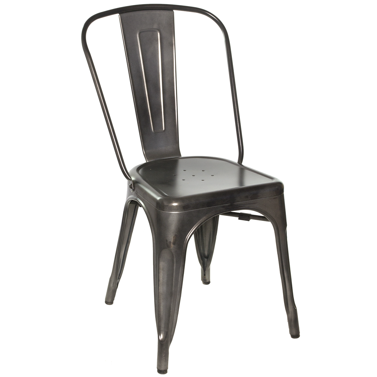 Chairs Galvanized Gunmetal Steel Side Chair
