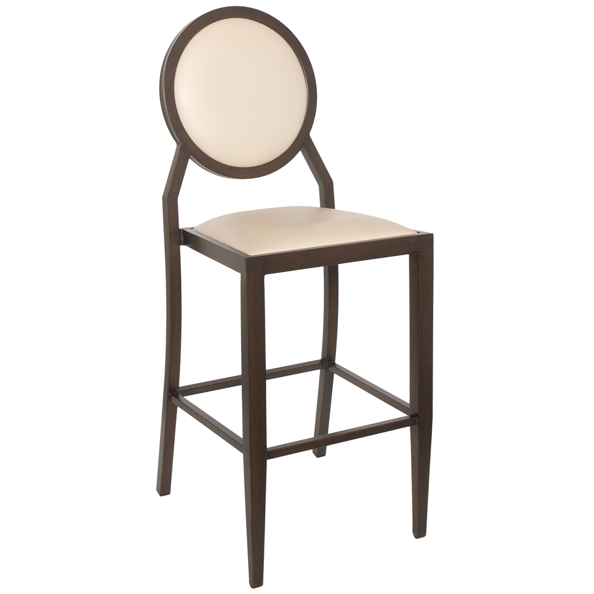 - Metal Barstools : Wood-Look Stacking Round Back Barstool