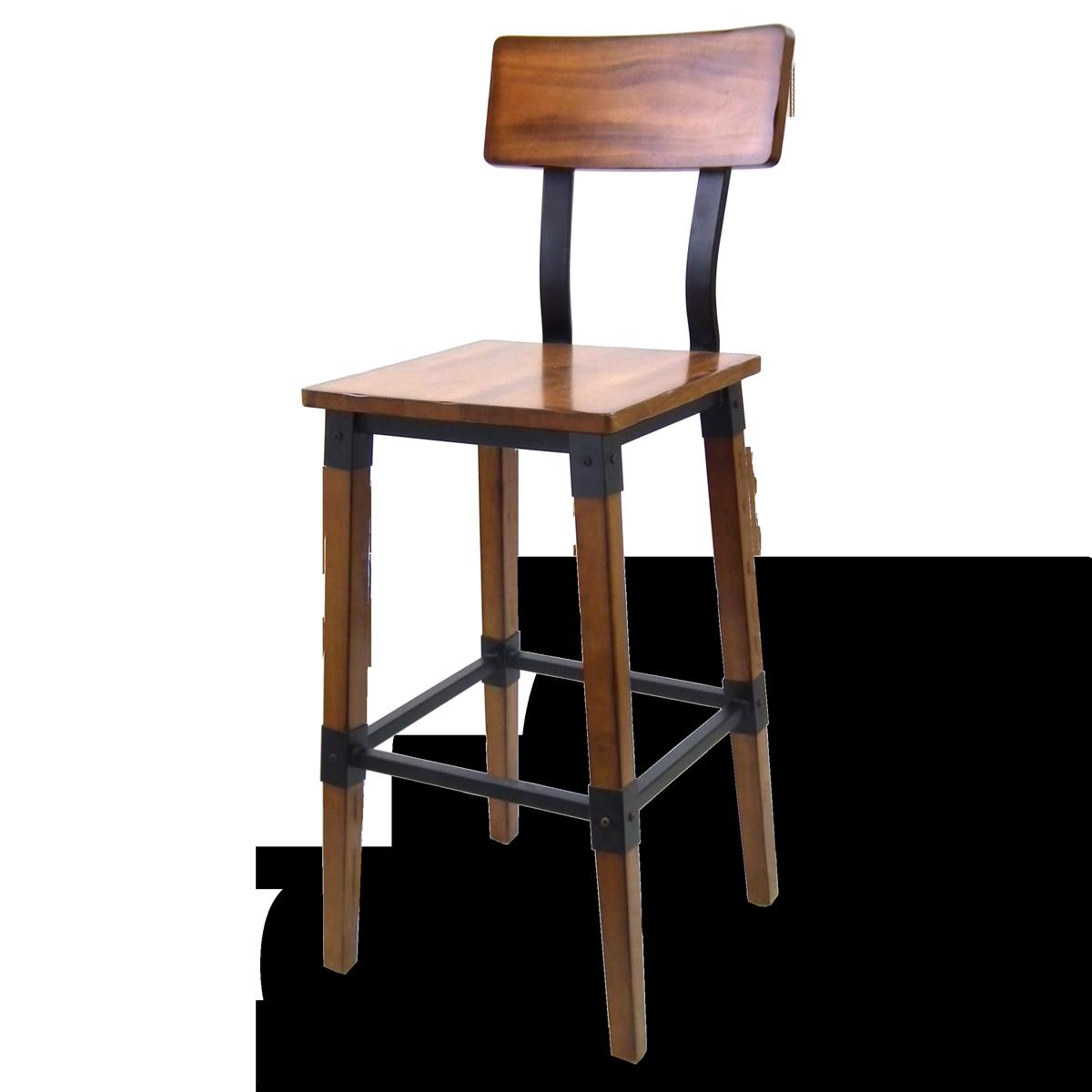 Rustic Wood & Steel Barstool
