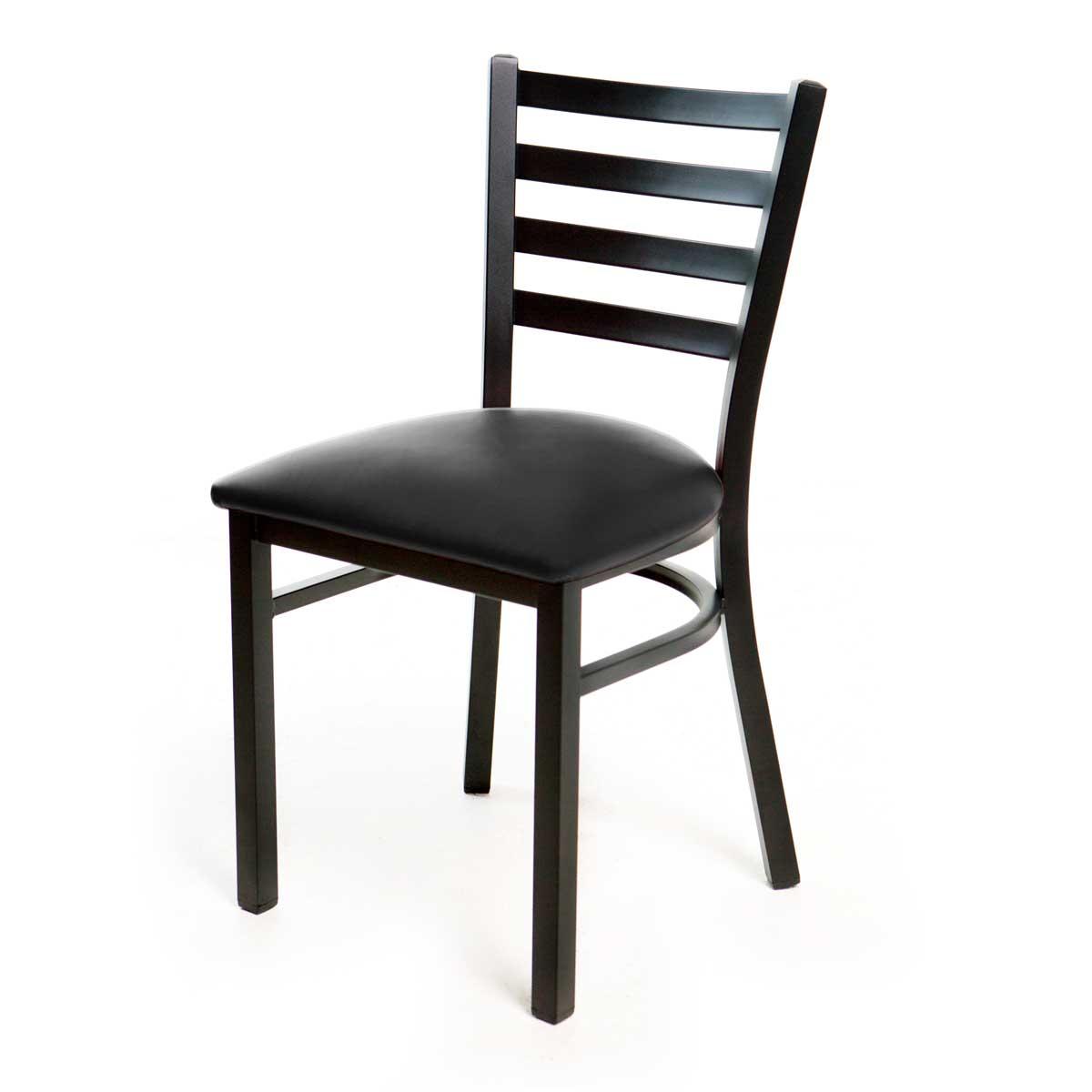 Metal Ladder Back Chair -  Black