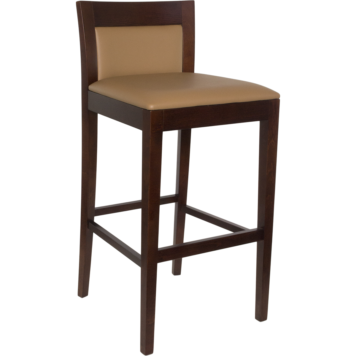 Wood Upholstered Square Inset Back Barstool