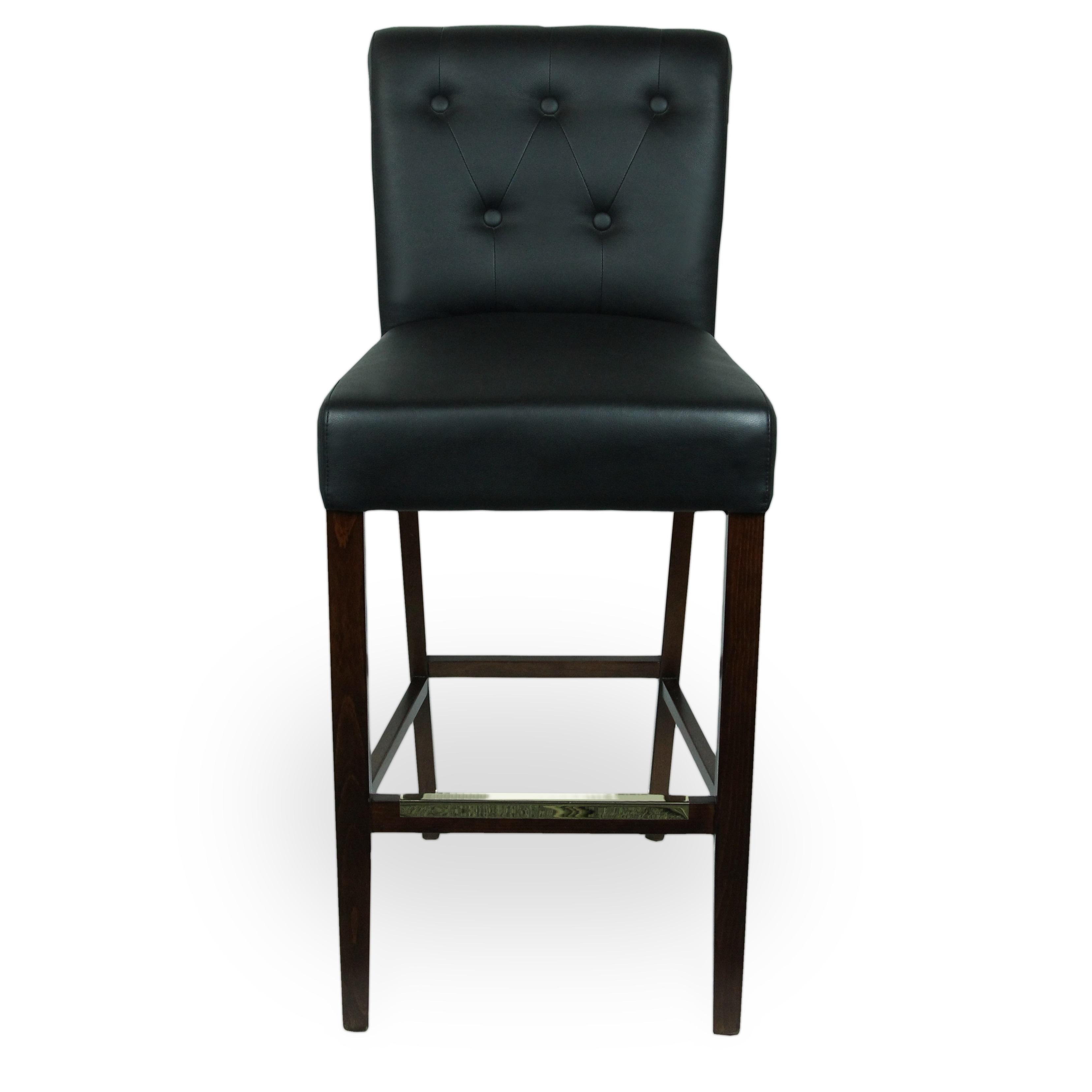 Wood Upholstered Pullover Rolled & Tufted Back Barstool