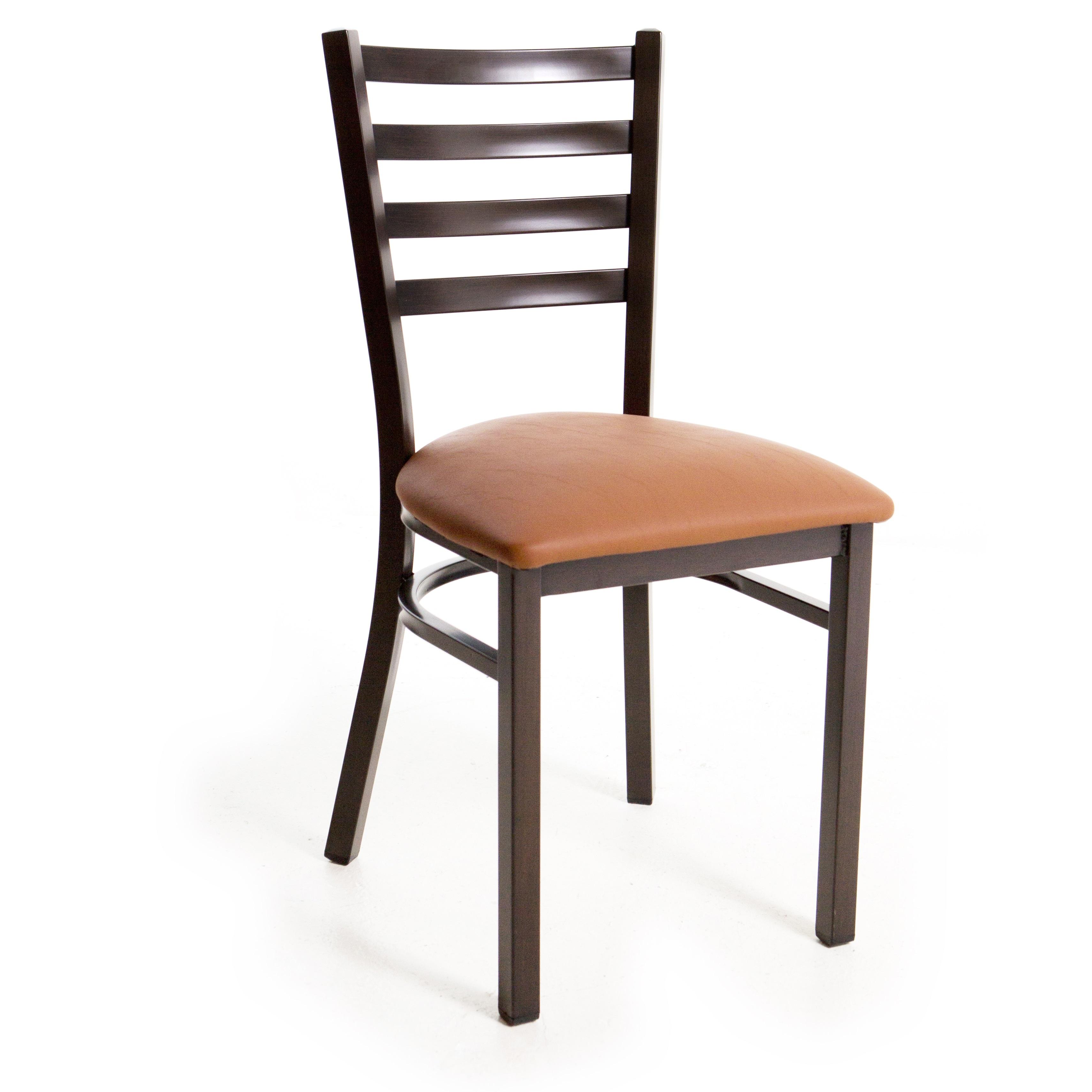Metal Ladder Back Chair - Wood Look