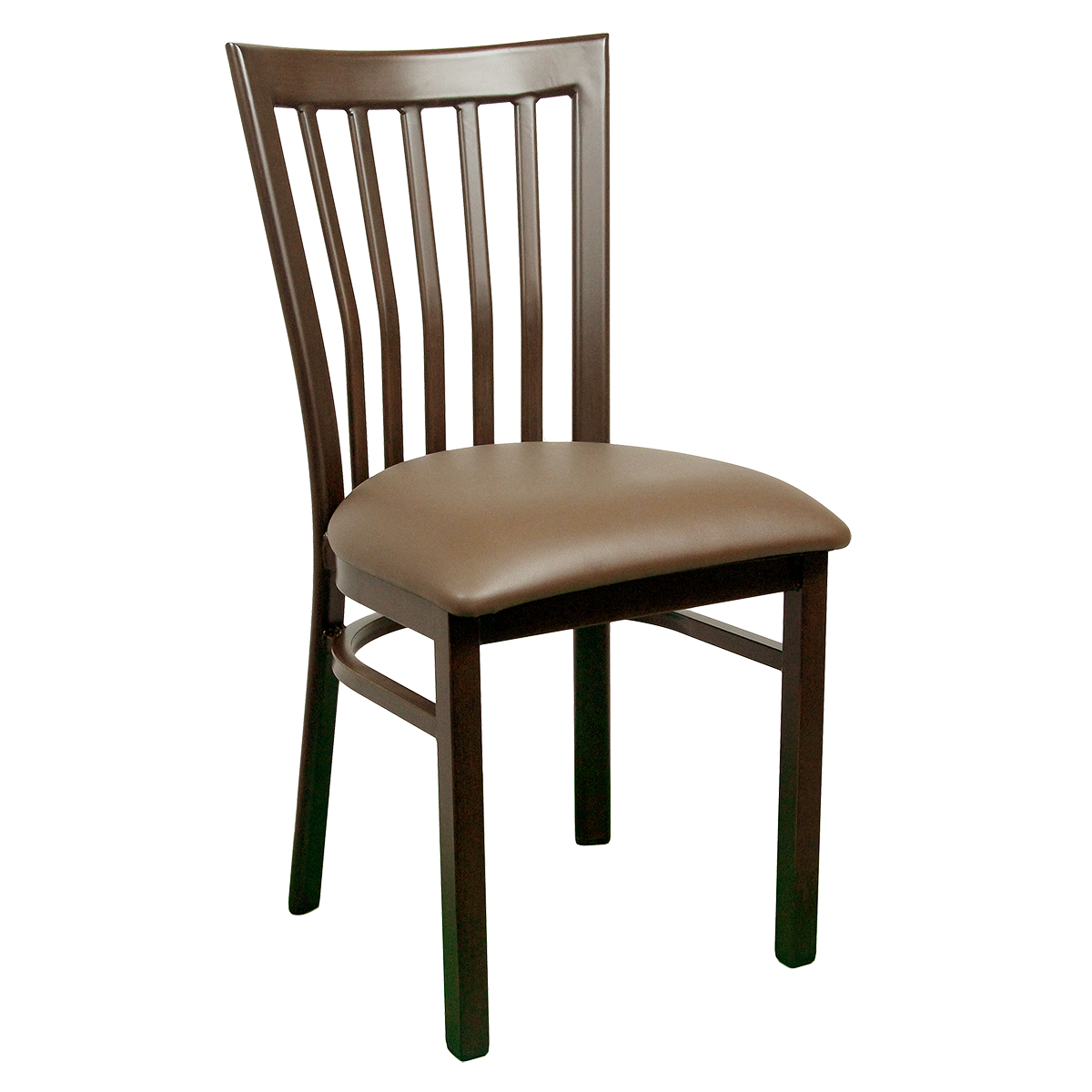 Wood-Look Metal Slat Back Chair