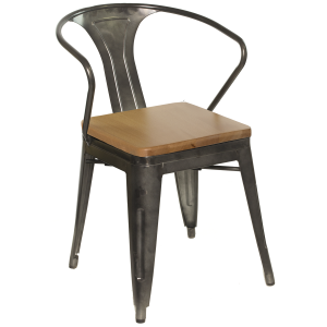 Galvanized Gunmetal Steel, Arm Chair