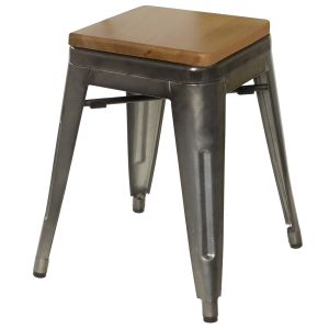 Galvanized Gunmetal Steel, Backless Chair