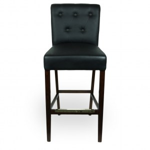 Wood Upholstered Pullover Rolled & Tufted Back Barstool
